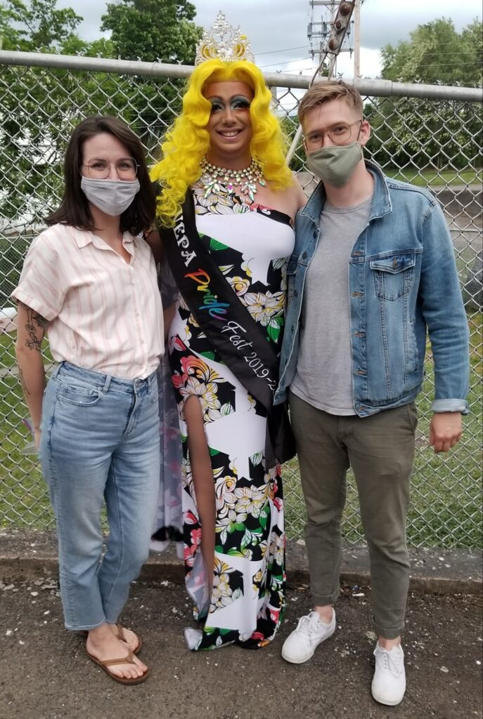 Coal Creative CEO Holly K. Pilcavage, Reigning Ms. NEPA Pride Fest Trixy Valentine and Sam O'Connell, Coal's Creative Director.